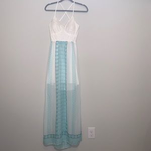 Dresses & Skirts - Bohemian sheer maxi dress with lace bodice